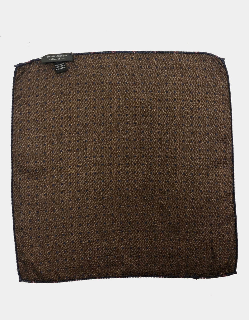 FAZZOLETTO SILK WOOL BLEND DOUBLE SIDED PAISLEY POLKA DOTS POCKET SQUARE