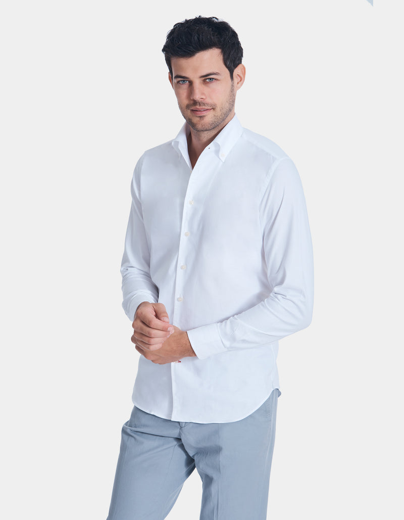 DOM LUXURY PINPOINT OXFORD ONE PIECE BUTTON DOWN COLLAR SHIRT