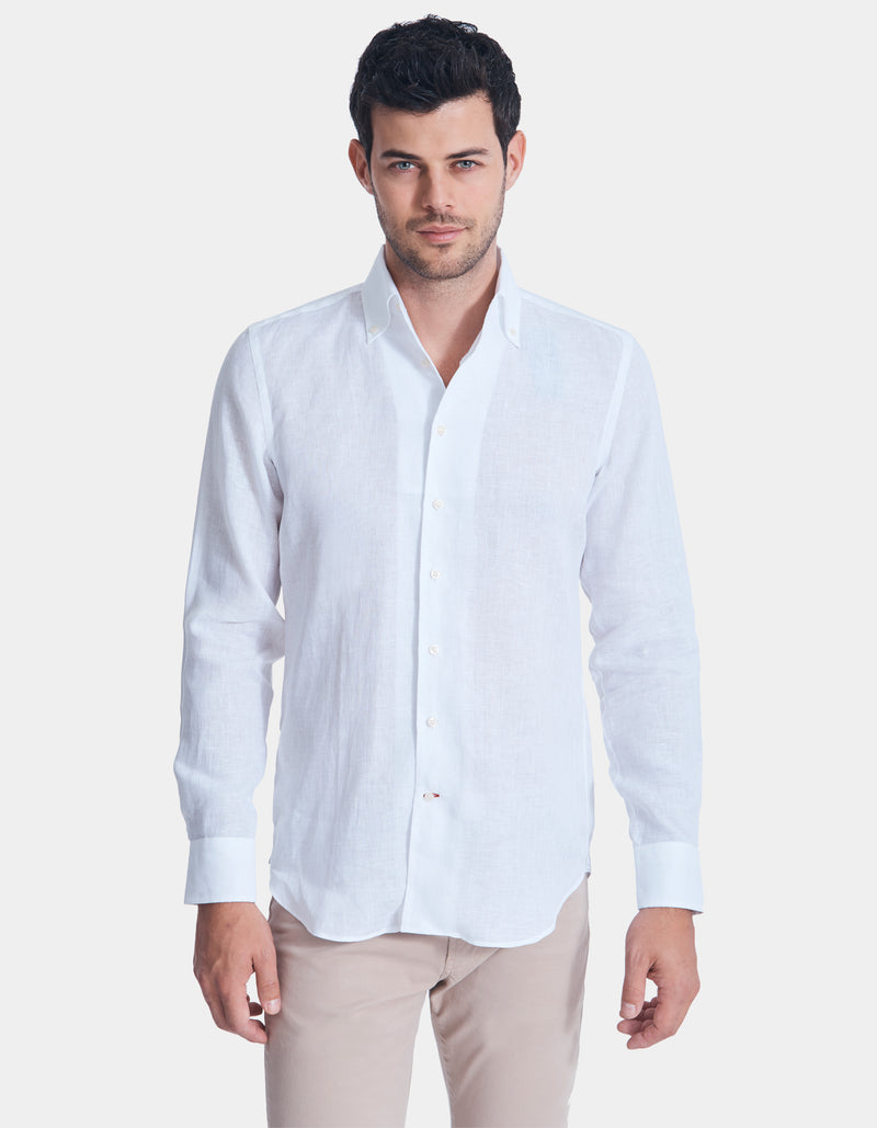 LUXURY SOLID LINEN ONE PIECE BUTTON DOWN COLLAR SHIRT