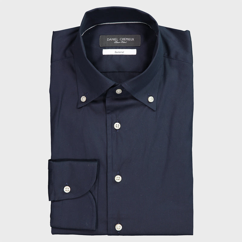 LUXURY STRETCH POPLIN SOLID ONE PIECE BUTTON DOWN COLLAR SHIRT