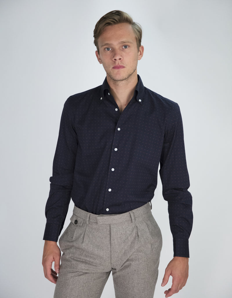 POLKA DOT TWILL BUTTON DOWN COLLAR SHIRT