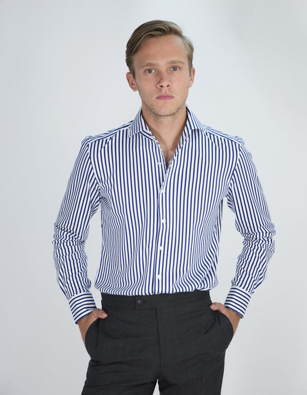STRIPE STRETCH JERSEY SPREAD COLLAR SHIRT