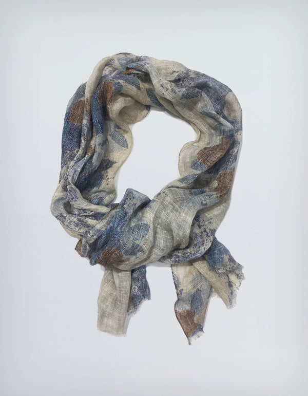 BRUNATE LINEN MILITARY PRINT SCARF