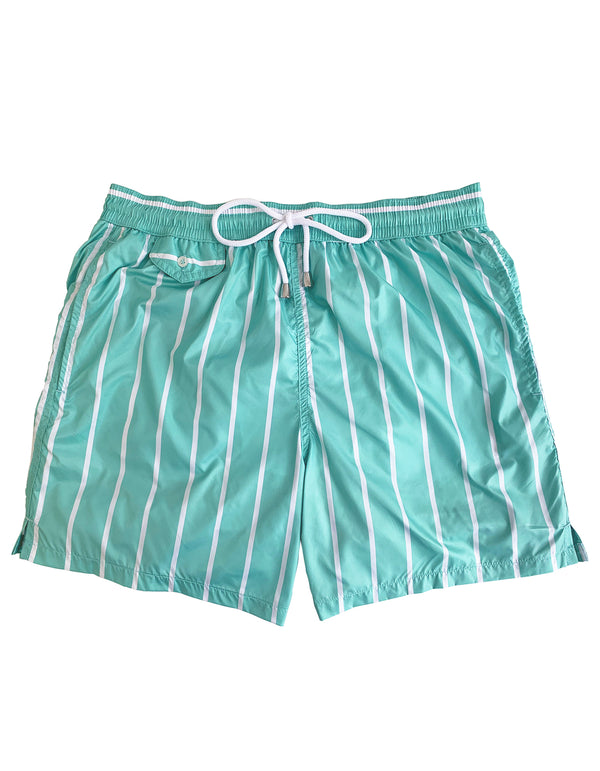 BOND LUXURY STRIPE PRINT ELASTICATED WAIST SWIM SHORT