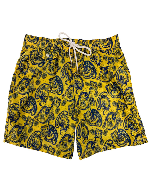 LUXURY PAISLEY ELASTICIZED WAIST SWIM SHORT