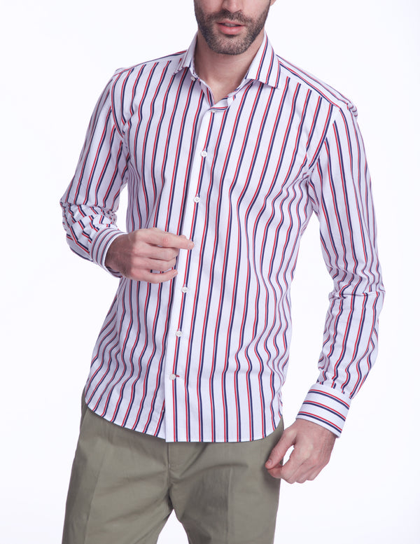 J BOND OTTOMAN BI-COLOR STRIPE SHIRT
