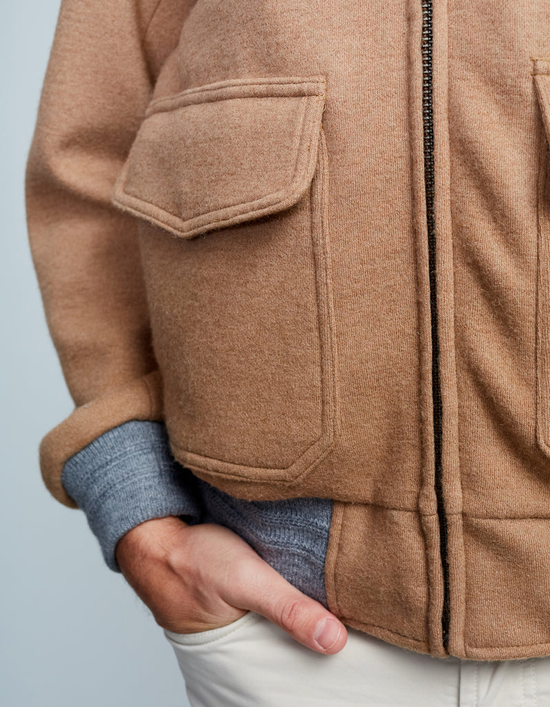 MADE IN USA KNIT AVIATOR JACKET