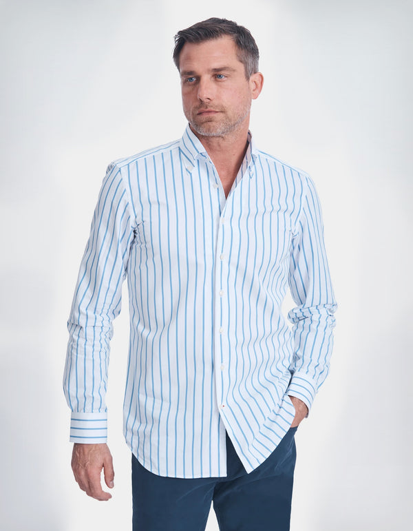 POPLIN STRIPE BUTTON DOWN COLLAR SHIRT