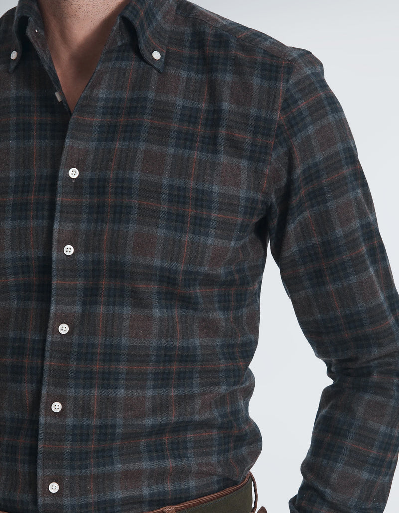 FLANNEL CHECK BUTTON DOWN COLLAR SHIRT