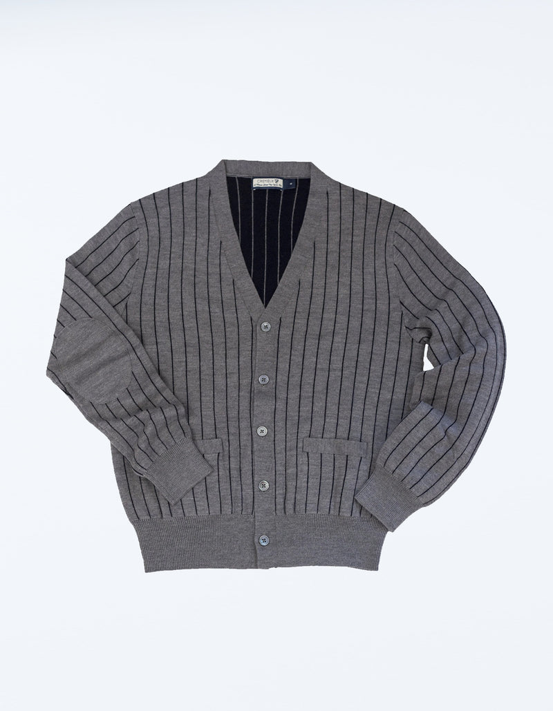 DOUBLE FACED MERINO CHALK STRIPE CARDIGAN