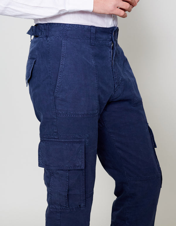 NAVY VINTAGE WASHED CARGO PANTS