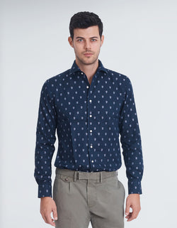 OXFORD FIL COUPE SPREAD COLLAR SHIRT