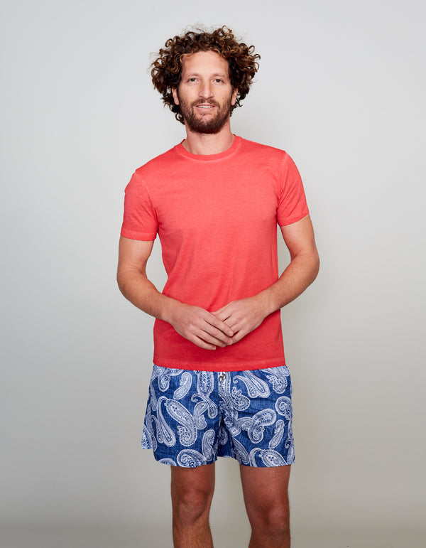 RED GARMENT DYED COTTON T-SHIRT