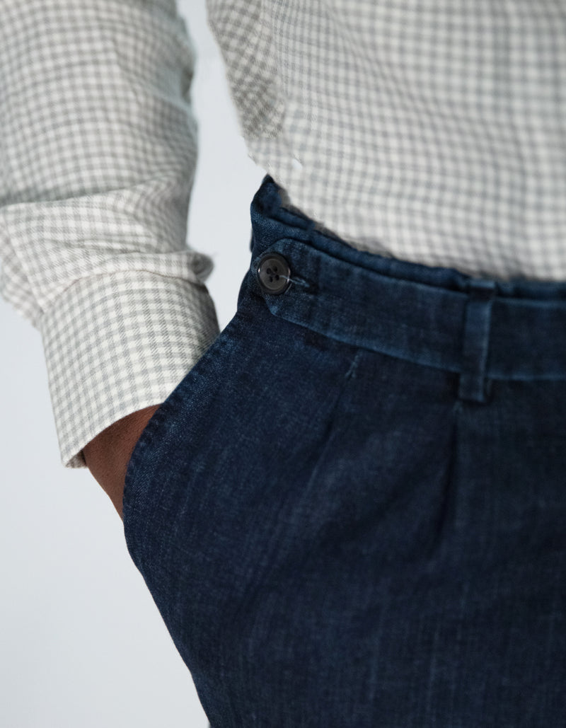 STONE WASHED DENIM CHINOS