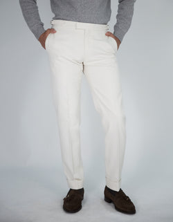 HANDMADE COTTON TWILL FLAT FRONT TROUSERS