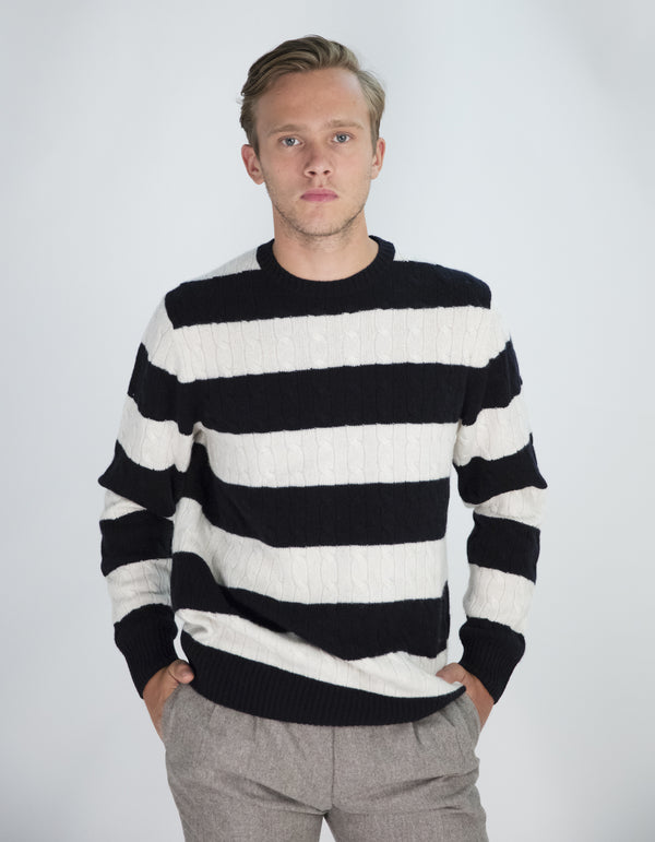 CASHMERE CABLE STRIPE SWEATER