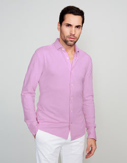 LAVENDER SUPIMA COTTON LONG SLEEVE POLO