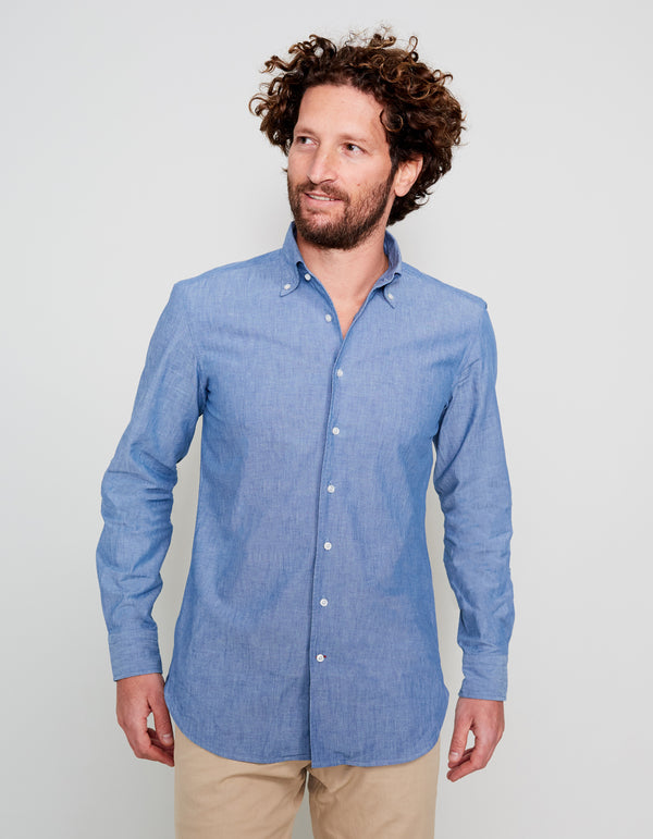 BLUE SOLID LINEN SHIRT