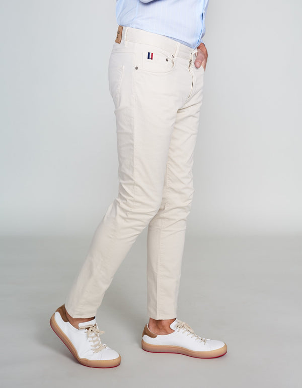 STONE COTTON STRETCH PANTS