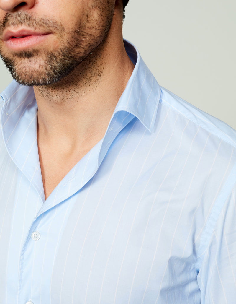 ORGANIC COTTON MUSLIN STRIPE SPREAD COLLAR SHIRT