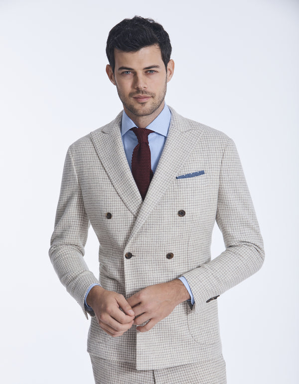 DOUBLE BREASTED HOUNDSTOOTH BLAZER IN 100% UNDYED WOOL