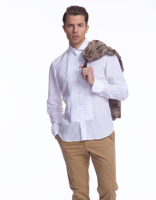 WHITE LINEN PLEATED BIB FRONT SREAD COLLAR CASUAL TUXEDO SHIRT