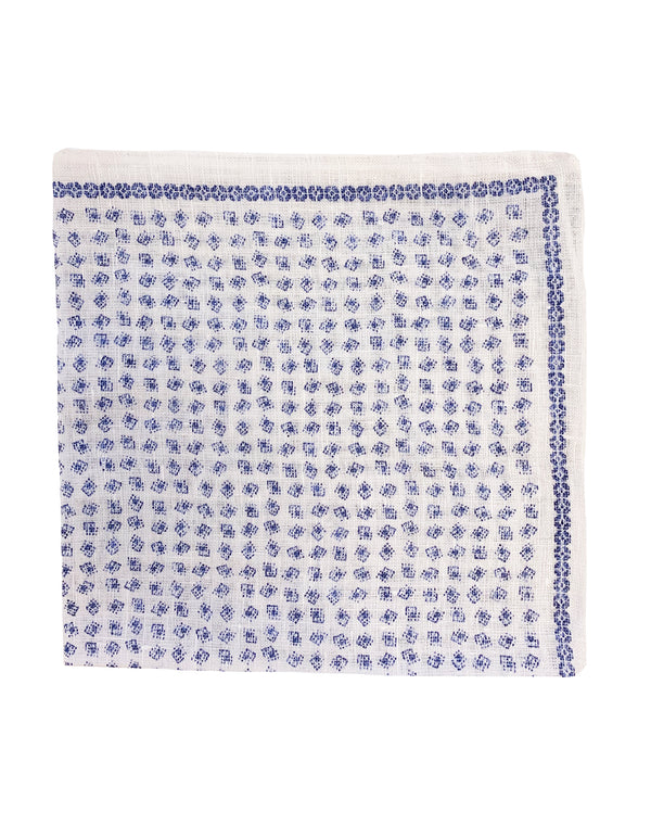 FAZZOLETTO LINEN ALL OVER PRINT POCKET SQUARE