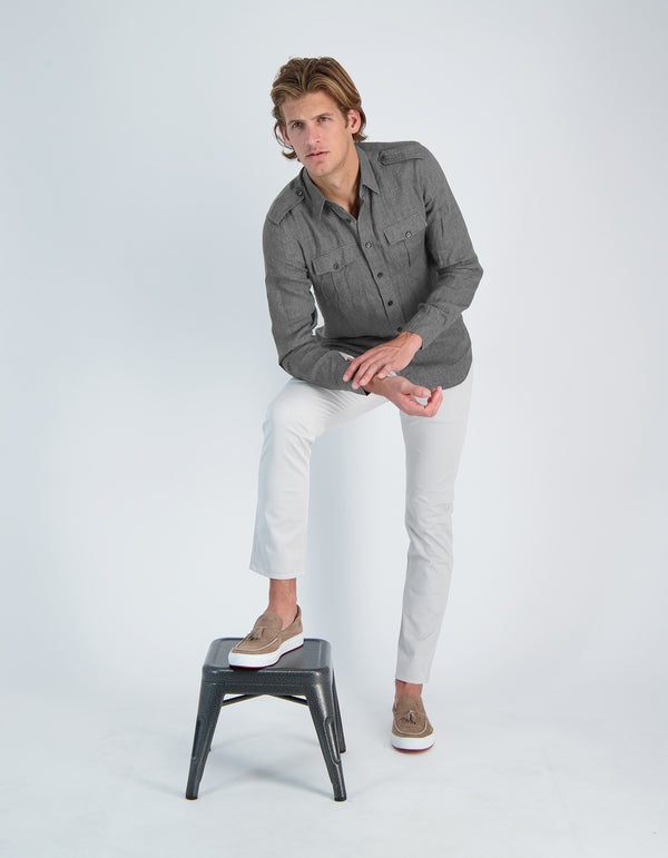 SERGEANT LUXURY SOFT LINEN MILITARY SHIRT