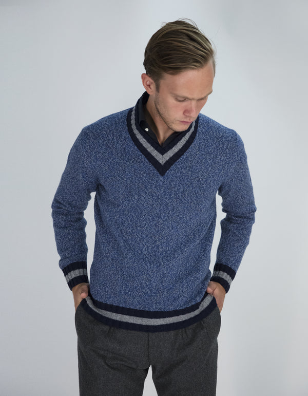 WOOL CASHMERE BLEND TENNIS SWEATER