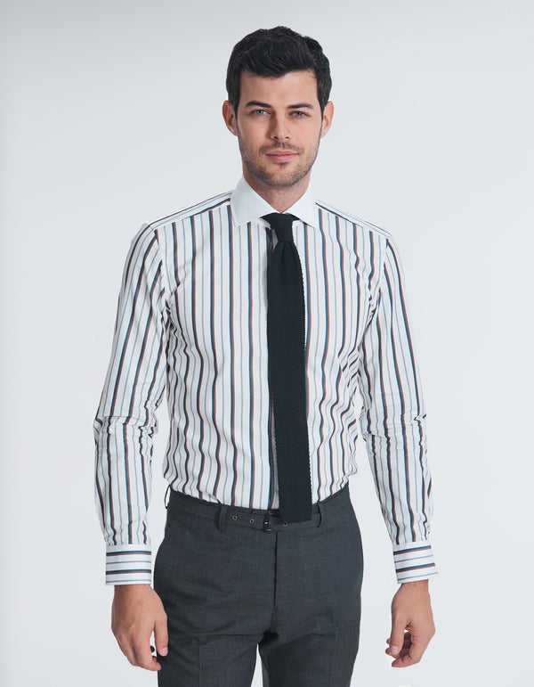 POPLIN MULTI STRIPE SPREAD COLLAR SHIRT