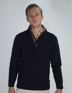 CASHMERE CABLE BUTTON UP SWEATER