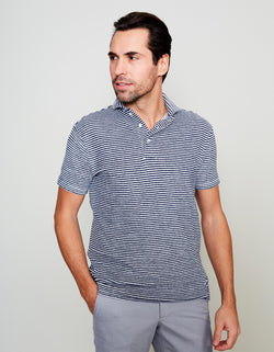NAVY TERRY STRIPES POLO