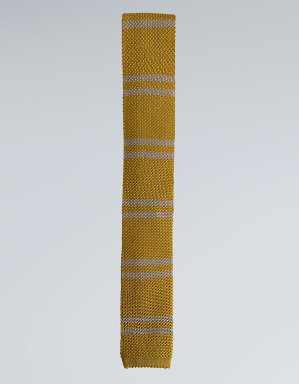 COMO SILK DOUBLE STRIPE KNIT TIE IN YELLOW
