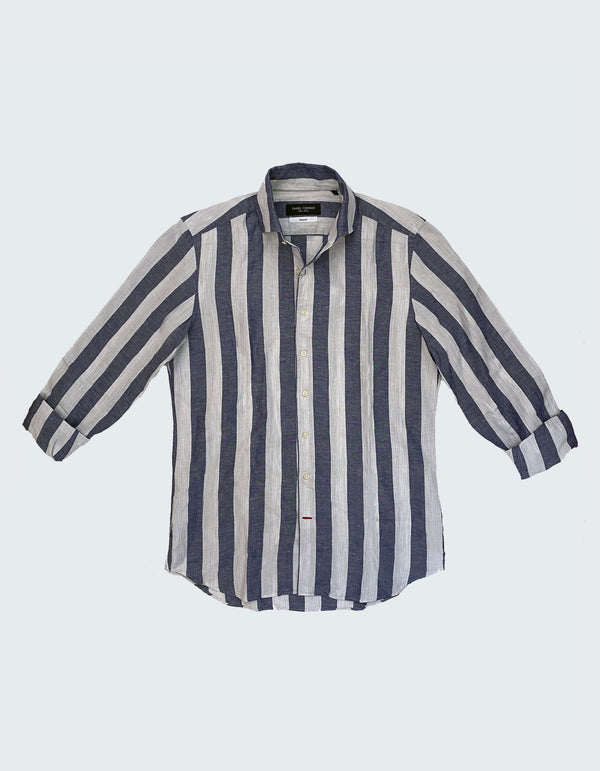 LAPO LINEN VERTICAL STRIPES SHIRT