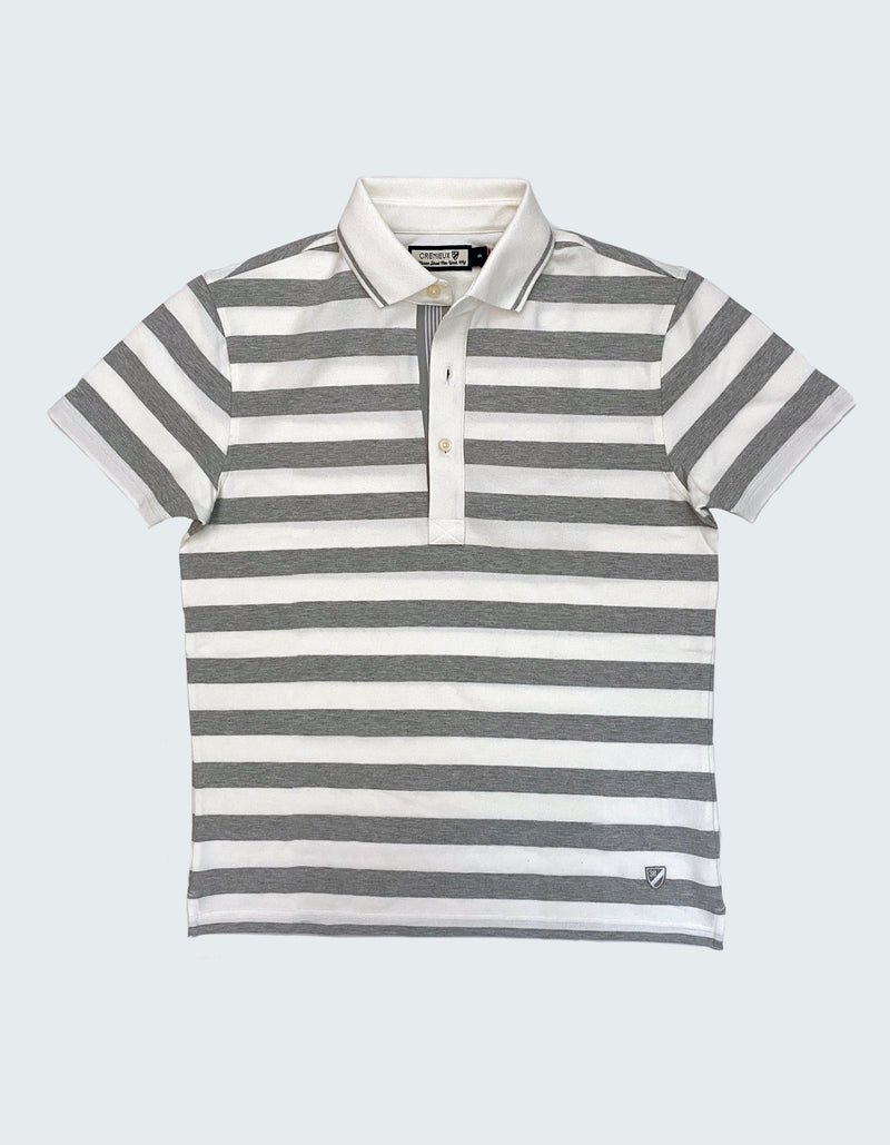 STRIPED COTTON STRETCH POLO