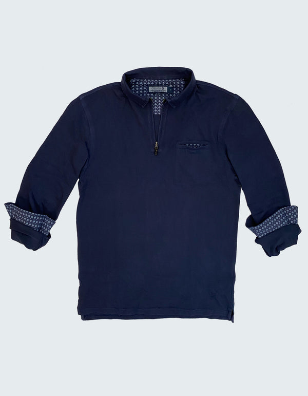 SUPIMA COTTON ZIP LONG SLEEVE POLO