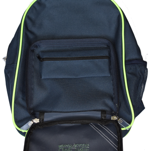 Lime Tree Back Pack showing detachable Pencil Case within front compartment