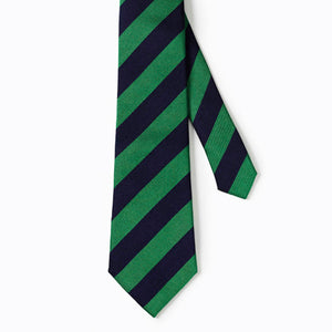 Green & Navy Striped Primary School Tie | Elastic or 39""