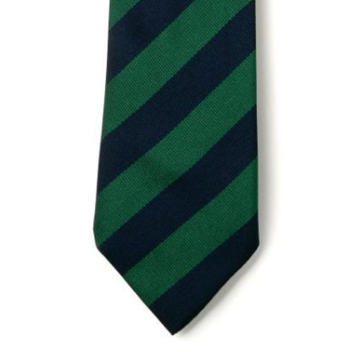 Green and Navy Striped Primary School Tie | Elastic or 39