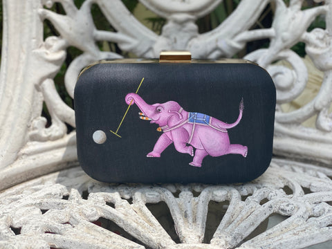 Miniature Hand Painted Elephant in Black