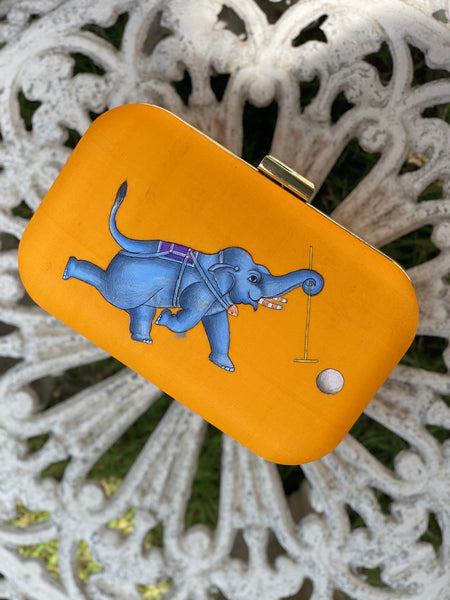 Miniature Hand Painted Elephant in Yellow