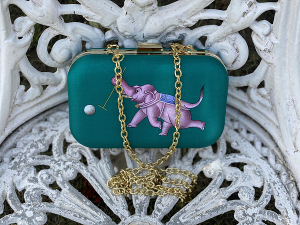 Miniature Hand Painted Elephant in Green