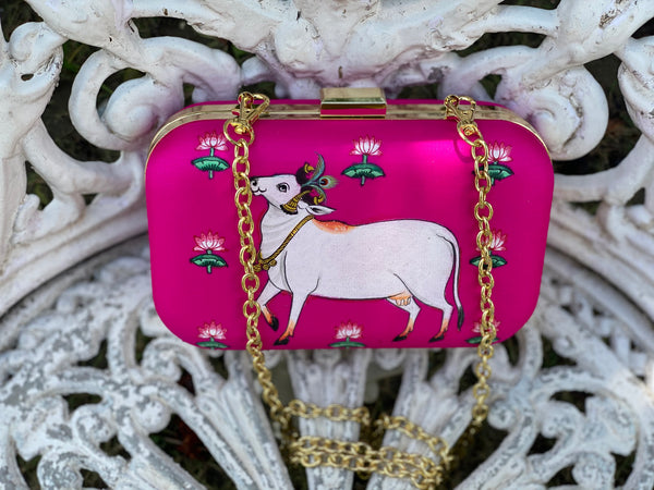 Miniature Hand Painted Cow in Hot Pink