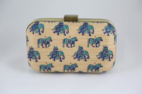 Hand Block Print: Horses and Elephants Blue