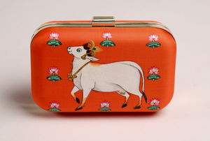 Miniature Hand Painted Cow in Orange