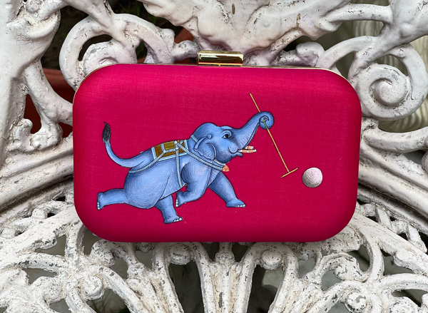 Miniature Hand Painted Elephant in Magenta