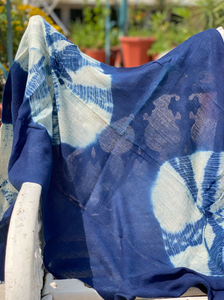 Indigo Diamonds Vegetable Hand Dyed Wool Stole