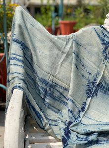 Indigo Shibori Vegetable Hand Dyed Wool Stole