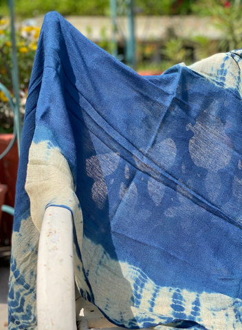 Indigo Vegetable Hand Dyed Wool Stole