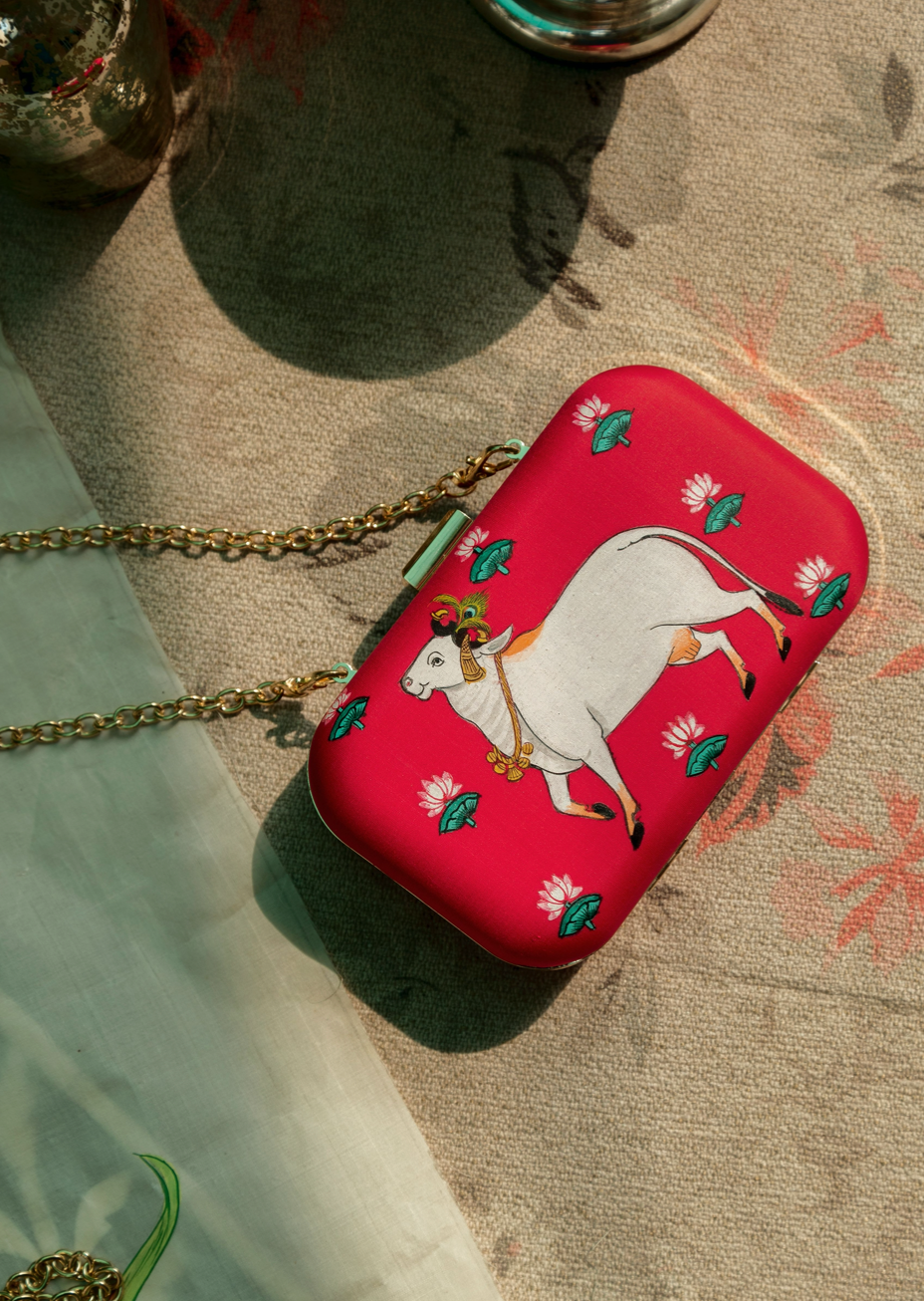 Miniature Hand Painted Cow in Red